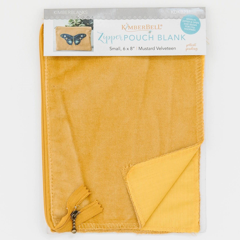 KIMBERBELL DESIGNS Mustard Velveteen Zipper Pouch Blank, Small