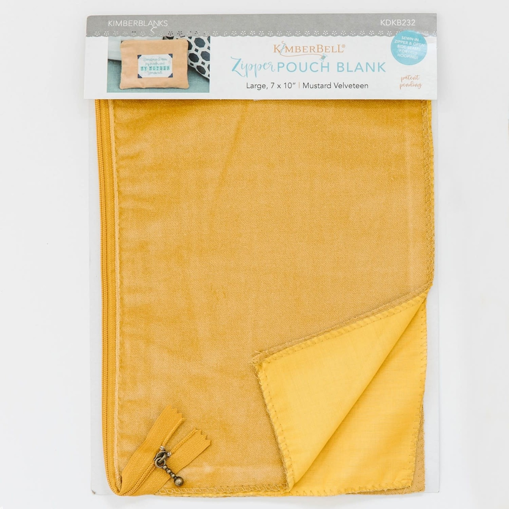 Kimberbell Designs Mustard Velveteen Zipper Pouch Blank, Large