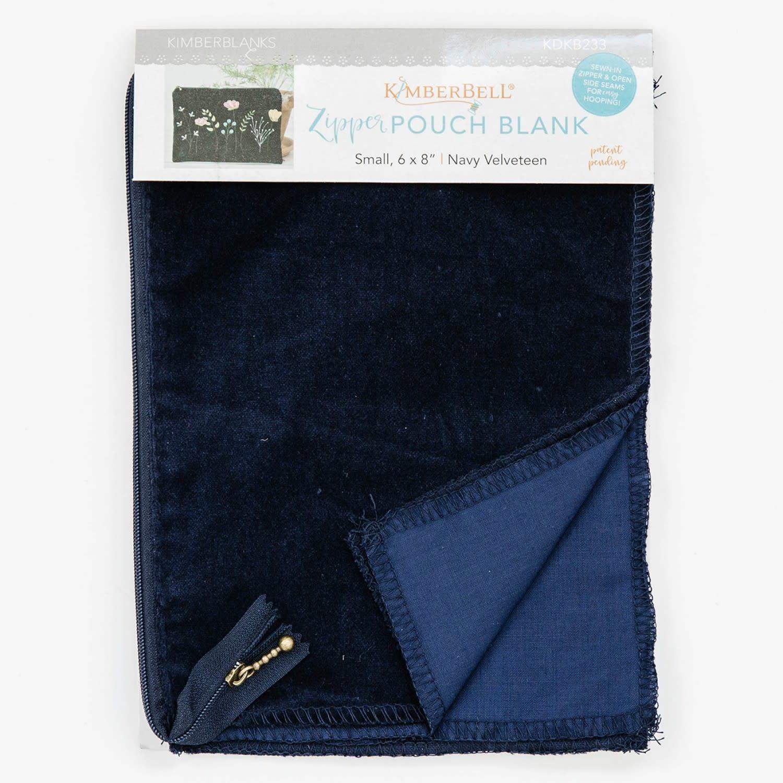 KIMBERBELL DESIGNS Navy Velveteen Zipper Pouch Blank, Small