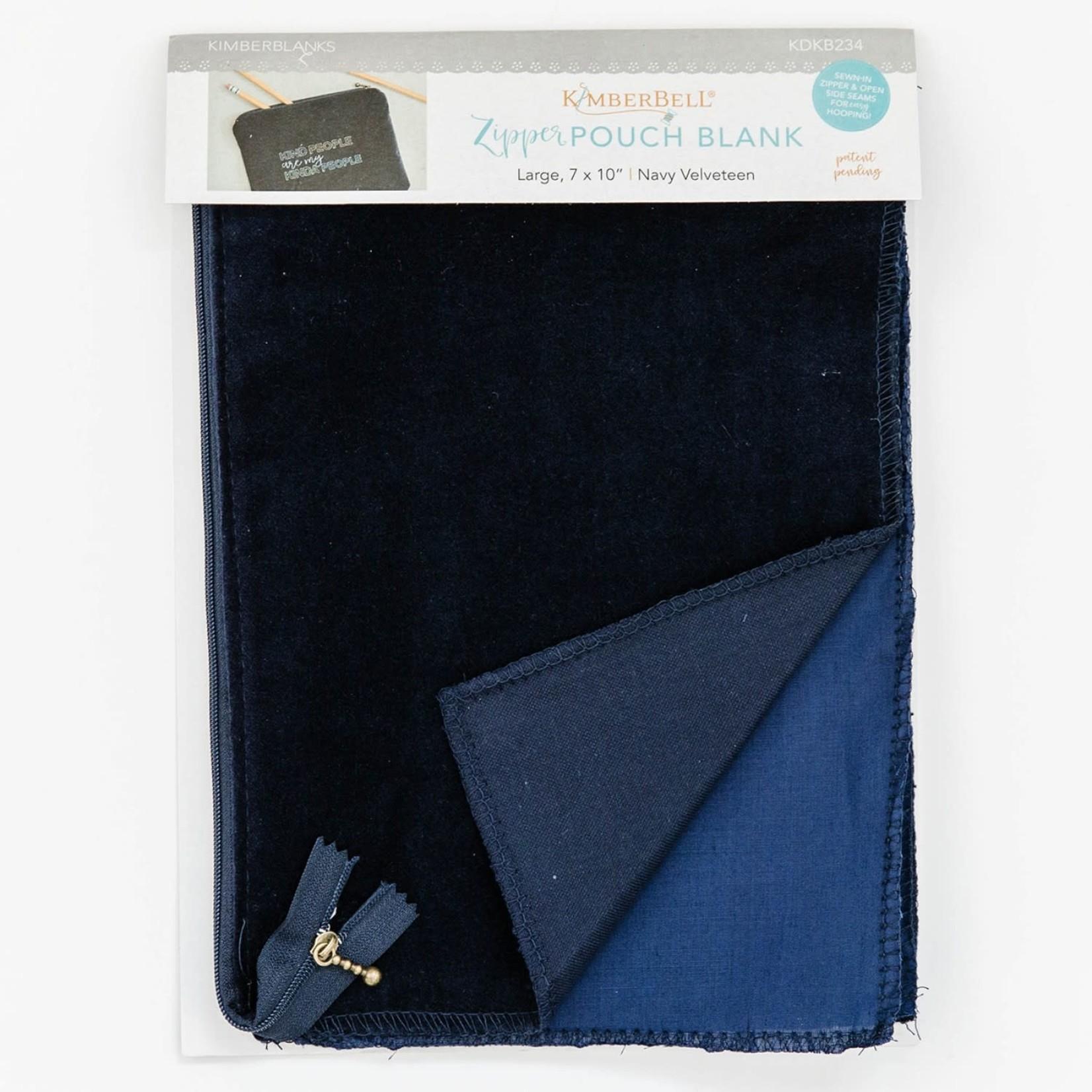 Kimberbell Designs Navy Velveteen Zipper Pouch Blank, Large
