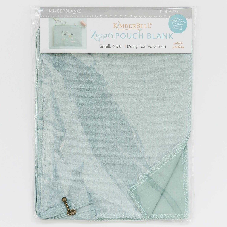KIMBERBELL DESIGNS Dusty Teal Velvetten Zipper Pouch Blank, Small