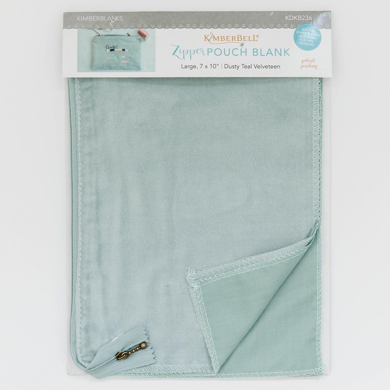KIMBERBELL DESIGNS Dusty Teal Velvetten Zipper Pouch Blank, Large