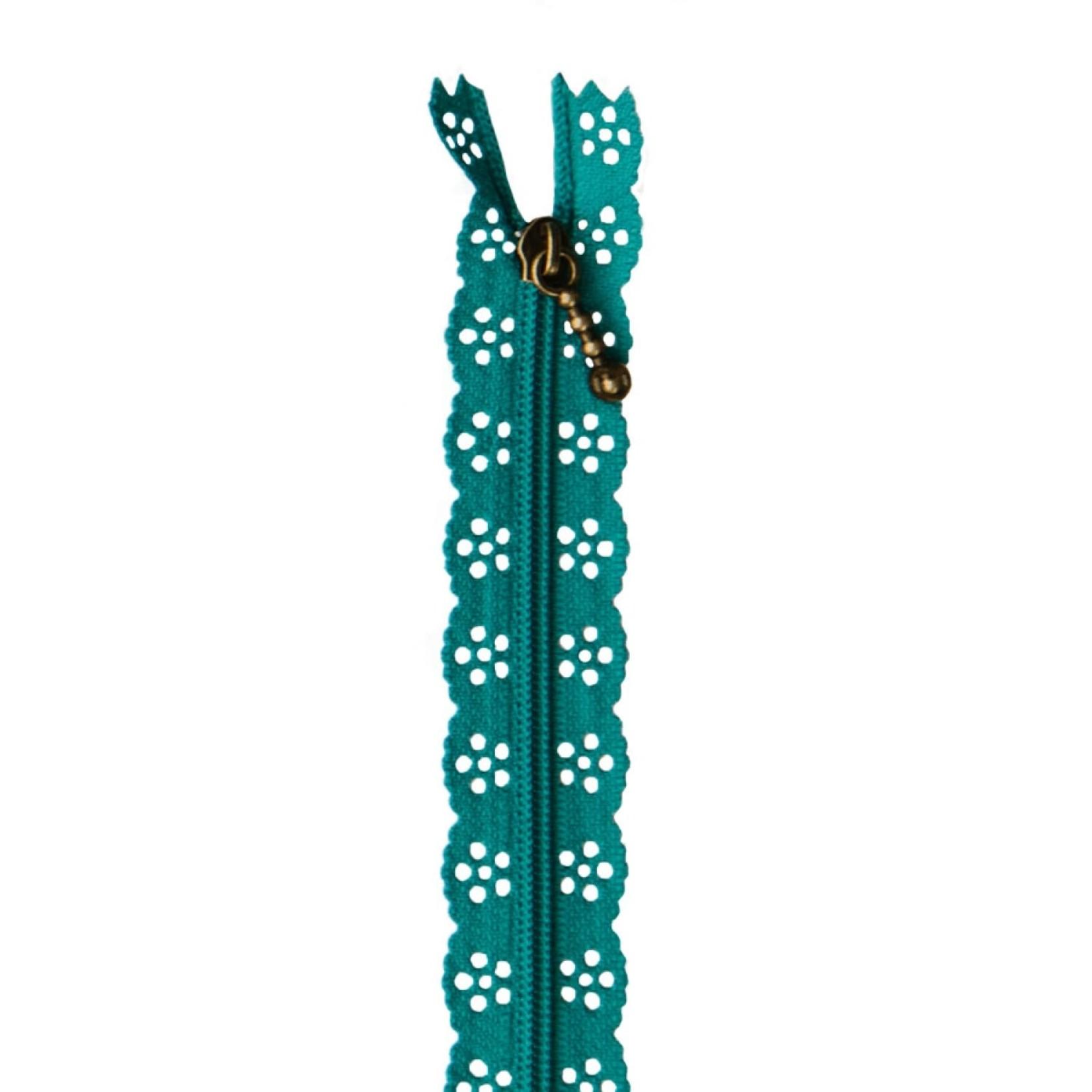 "Kimberbell Designs Lace Zipper 14"" - Deep Sea Blue"
