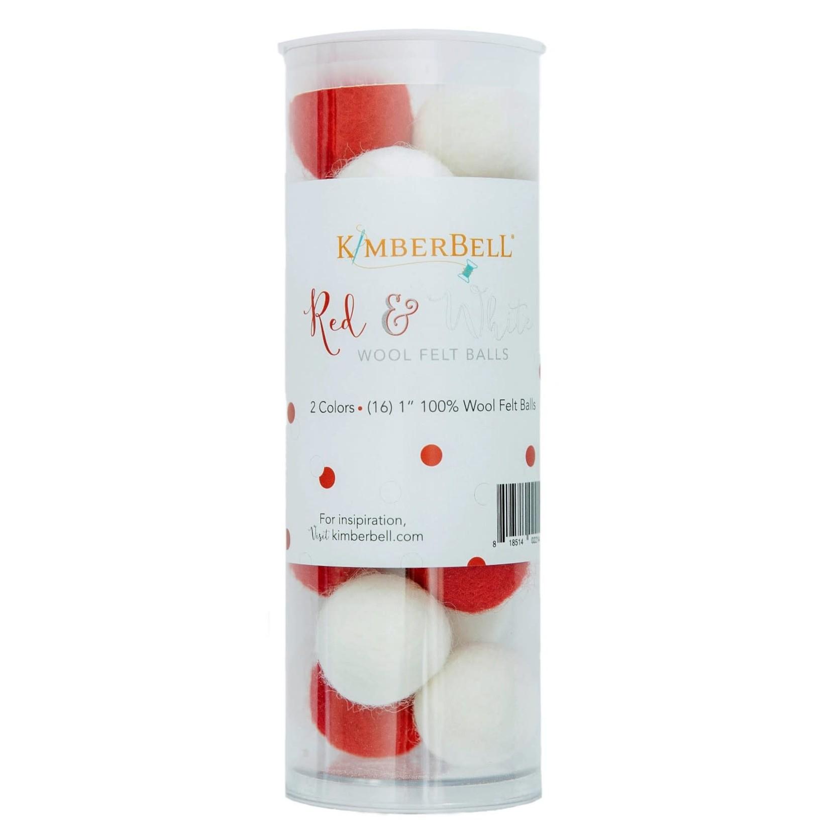 Kimberbell Designs Wool Felt Balls, Red & White, set of 16