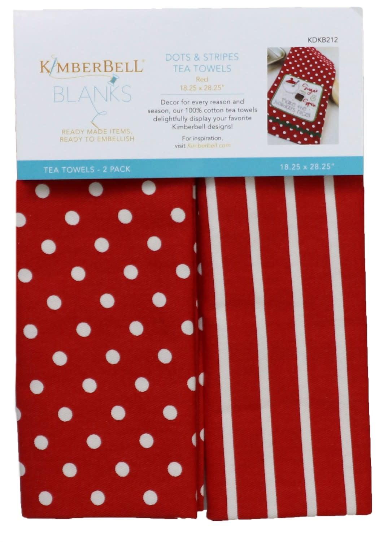 KIMBERBELL DESIGNS Dots & Stripes Tea Towels:  Red