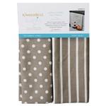 Kimberbell Designs Dots & Stripes Tea Towels:  Grey