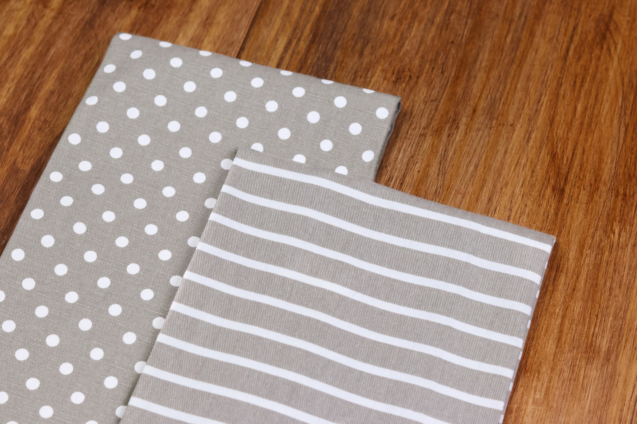 KIMBERBELL DESIGNS Dots & Stripes Tea Towels:  Grey