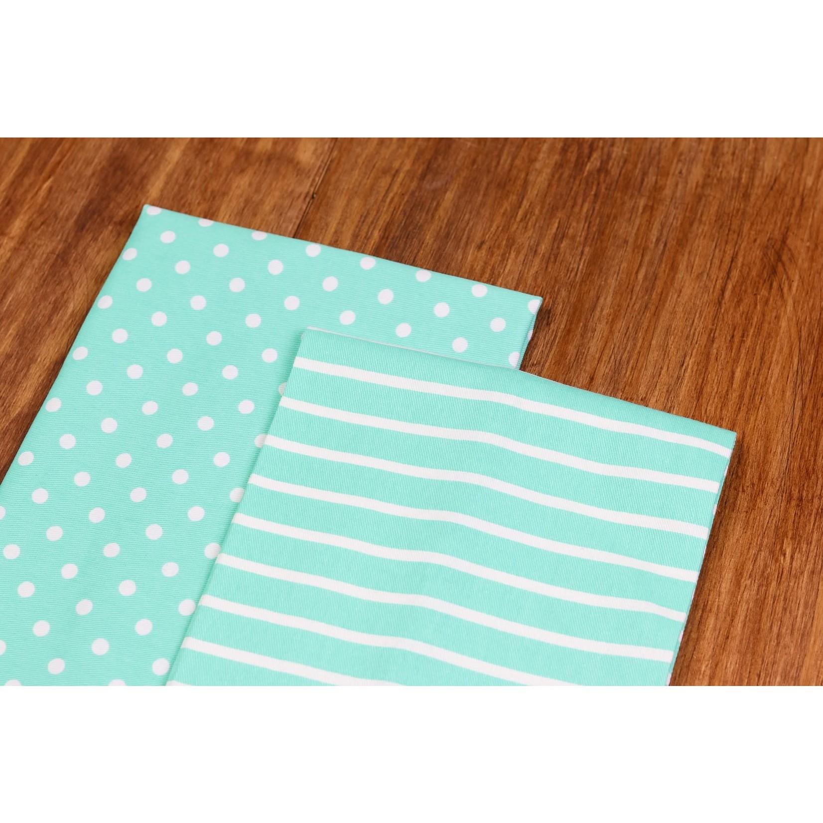 KIMBERBELL DESIGNS Dots & Stripes Tea Towels:  Aqua
