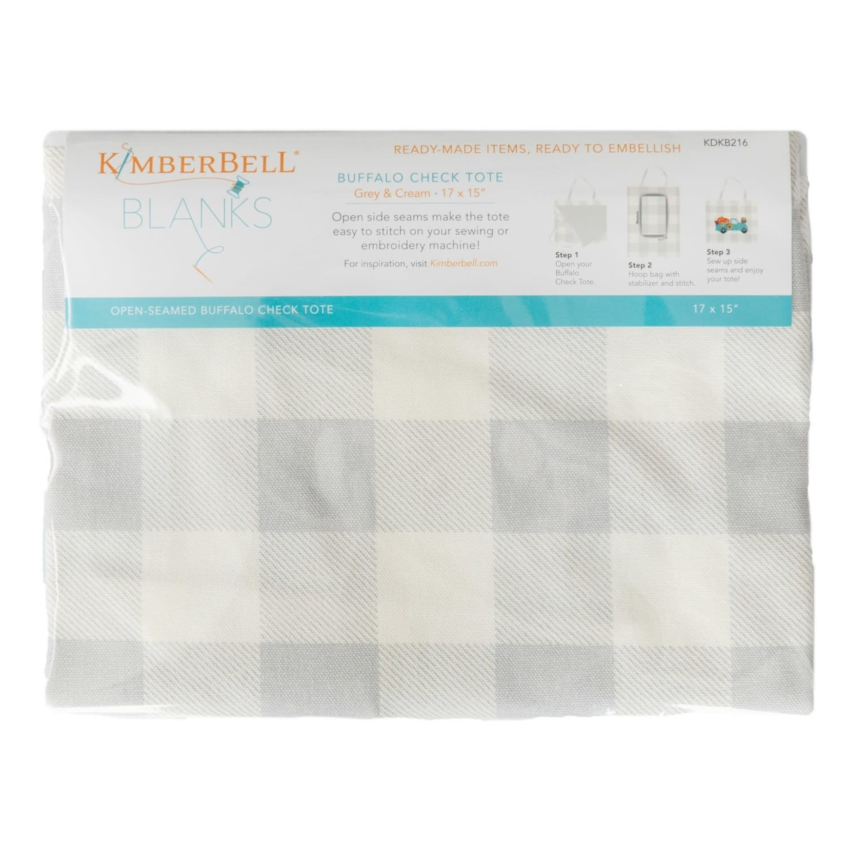 Kimberbell Designs Buffalo Check Tote Bag:  Grey & Cream