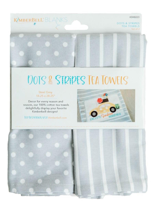 KIMBERBELL DESIGNS Dots & Stripes Tea Towel:  Steel Grey