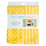 Kimberbell Designs Dots & Stripes Tea Towel: Lemon