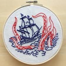 Hook Line and Tinker Release the Kraken Complete Embroidery Kit