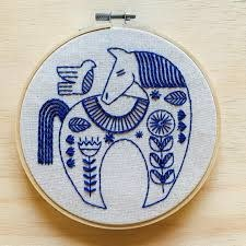 Hook Line and Tinker Holiday Hygge Horse Complete Embroidery Kit