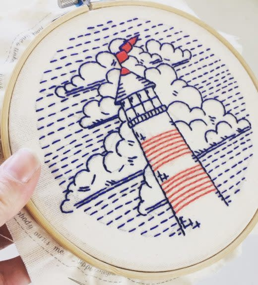 Hook Line and Tinker Lighthouse Complete Embroidery Kit