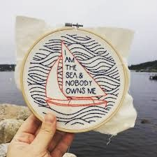 Hook Line and Tinker I am the Sea Complete Embroidery Kit