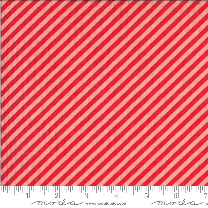 BONNIE & CAMILLE Shine On by Bonnie & Camille, STRIPE, RED ON PINK 55215-15 PER CM OR