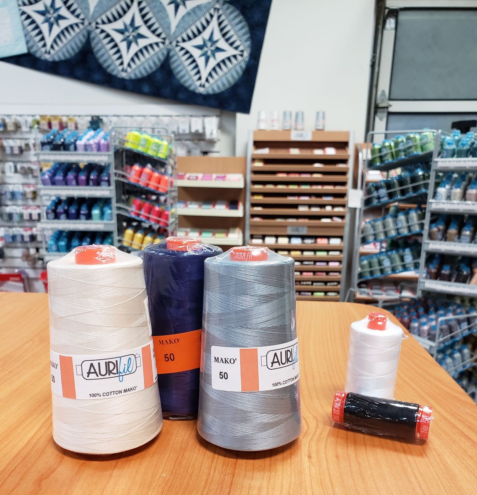 AURIFIL 3 pack of 50 WT CONE Grey, Beige, Blue