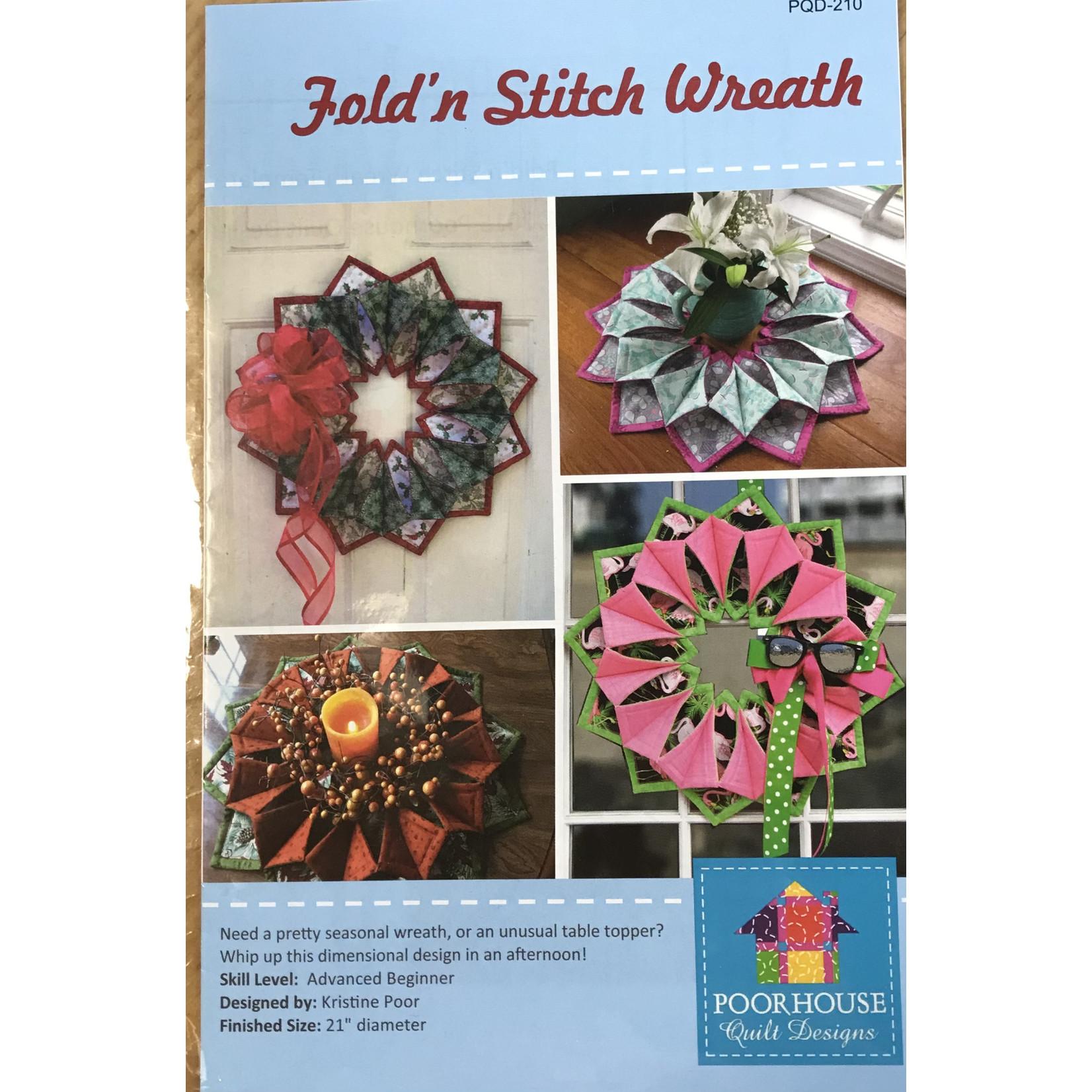 "Poor House Quilt Designs FOLD""n STITCH WREATH PATTERN"