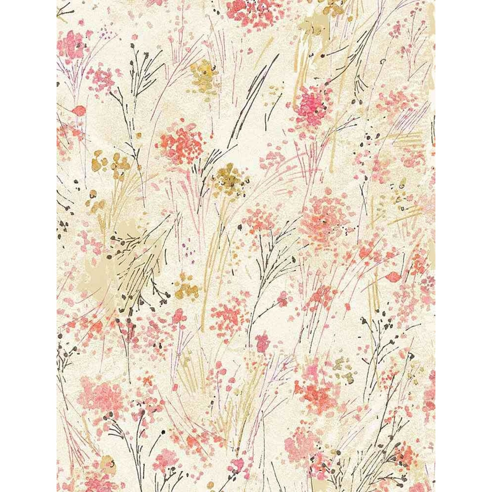 TIMELESS TREASURES FLORAL STUDY, WATERCOLOUR BUDS, CREAM (CD7192) PER CM OR $18/M