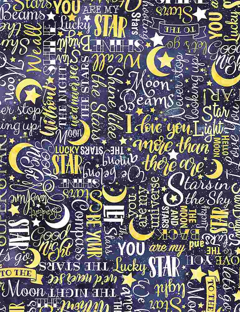 TIMELESS TREASURES I LOVE YOU TO THE MOON AND BACK, STARS TEXT, YELLOW PER CM OR $20/M
