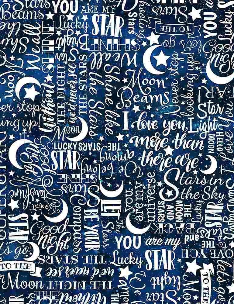 TIMELESS TREASURES I LOVE YOU TO THE MOON AND BACK, STARS TEXT, WHITE PER CM OR $20/M