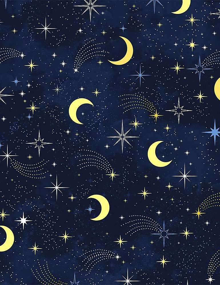 TIMELESS TREASURES I LOVE YOU TO THE MOON AND BACK, MOON & SHOOTING STARS, NAVY PER CM OR $20/M