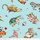 RILEY BLAKE DESIGNS Hungry Animal Alphabet, Tossed Animals, Blue per cm or $22/m