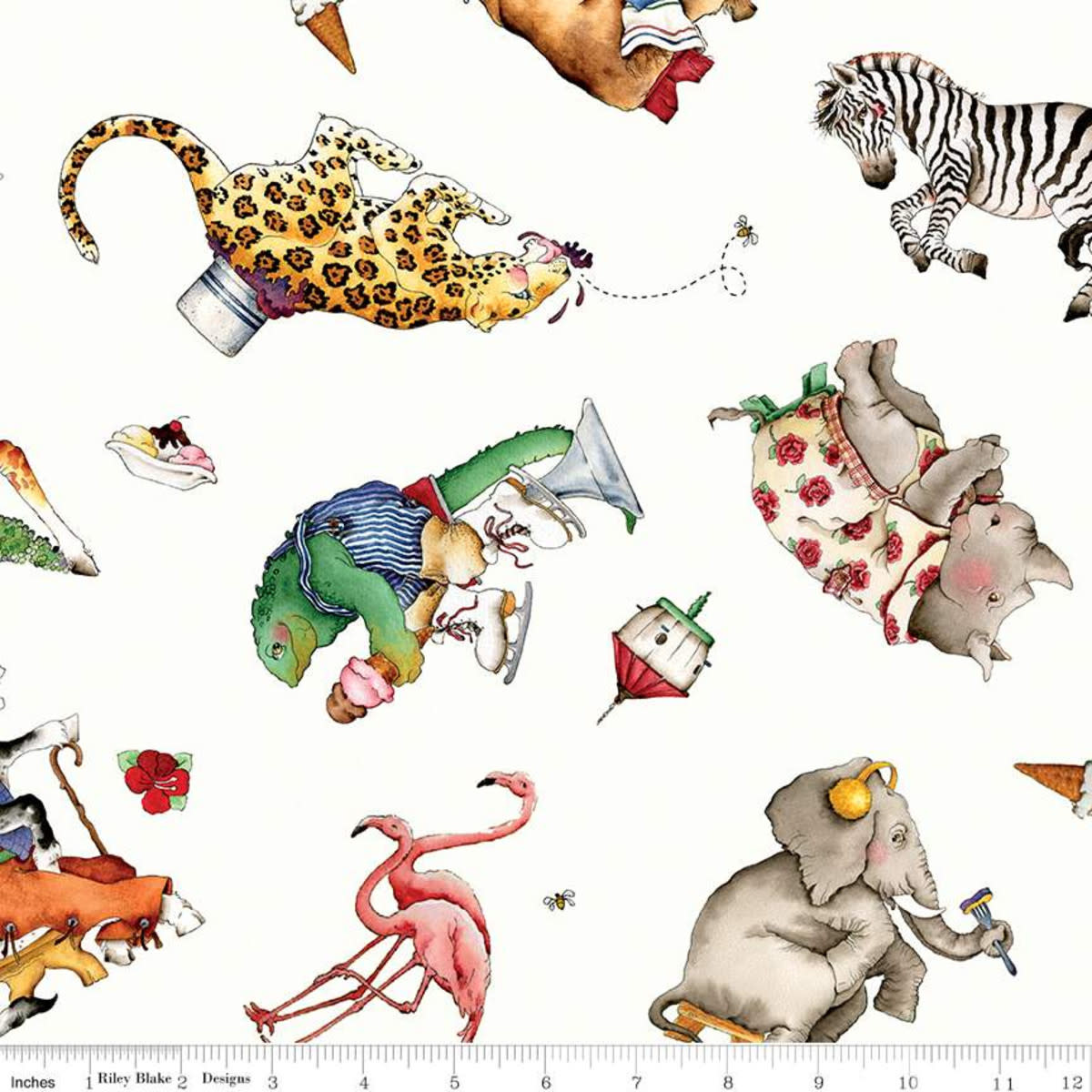RILEY BLAKE DESIGNS Hungry Animal Alphabet, Tossed Animals, Off White per cm or $22/m