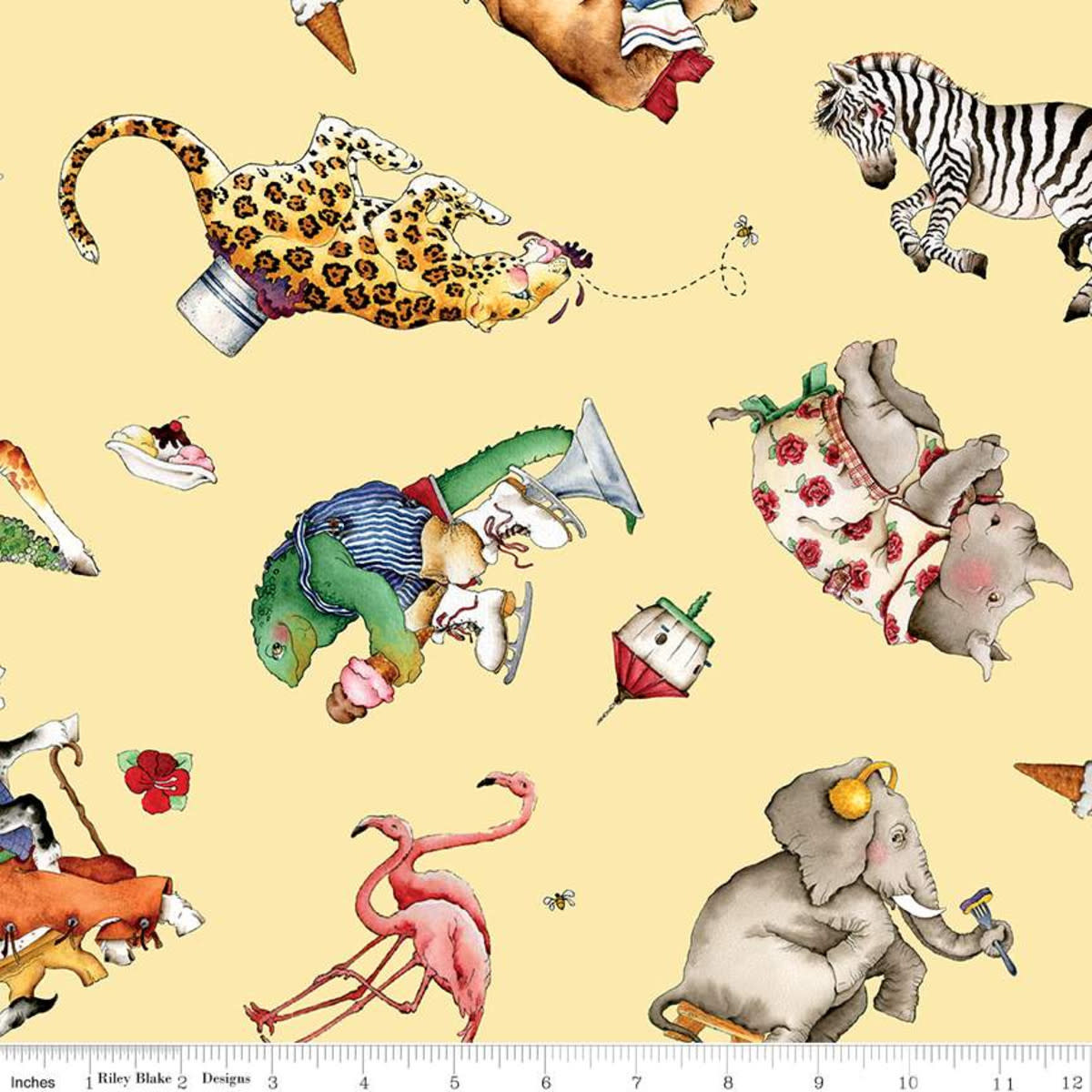 RILEY BLAKE DESIGNS Hungry Animal Alphabet, Tossed Animals, Yellow per cm or $22/m