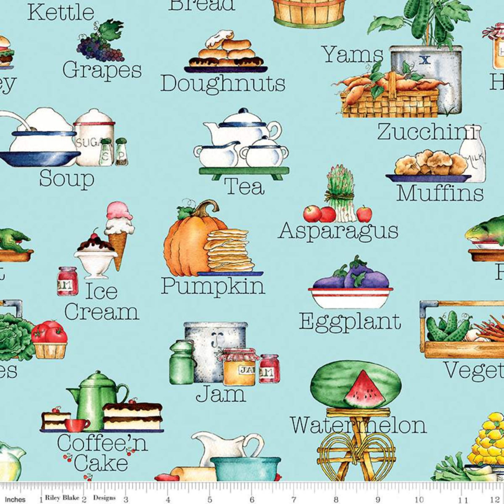RILEY BLAKE DESIGNS Hungry Animal Alphabet, Soup, Blue per cm or $22/m