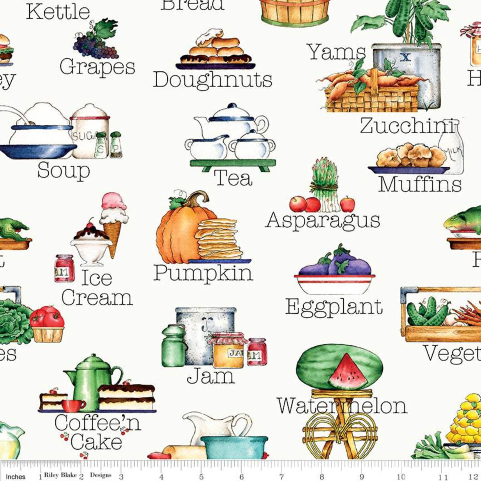 RILEY BLAKE DESIGNS Hungry Animal Alphabet, Soup, Off White per cm or $22/m