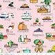 RILEY BLAKE DESIGNS Hungry Animal Alphabet, Soup, Pink per cm or $22/m
