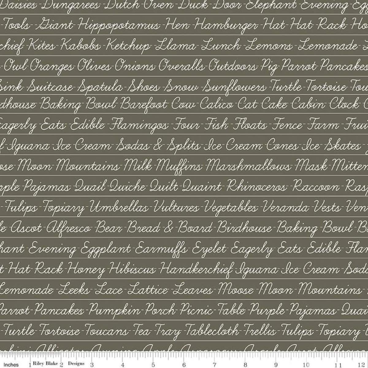 RILEY BLAKE DESIGNS Hungry Animal Alphabet, Penmanship, Charcoal per cm or $20/m