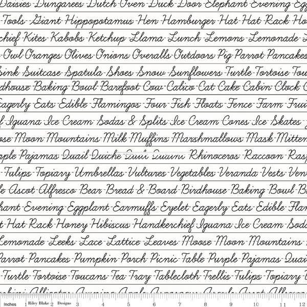RILEY BLAKE DESIGNS Hungry Animal Alphabet, Penmanship, Off White per cm or $20/m
