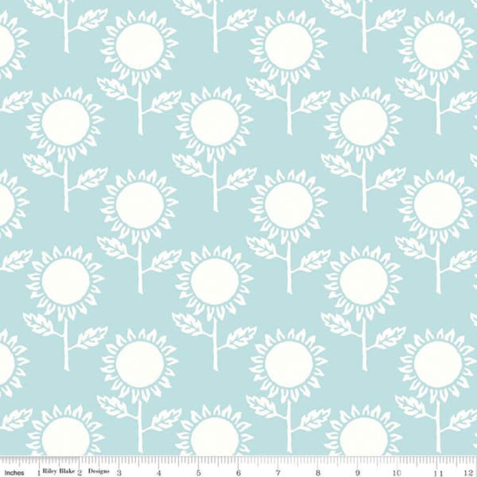RILEY BLAKE DESIGNS Hungry Animal Alphabet, Sunflowers, Blue per cm or $20/m