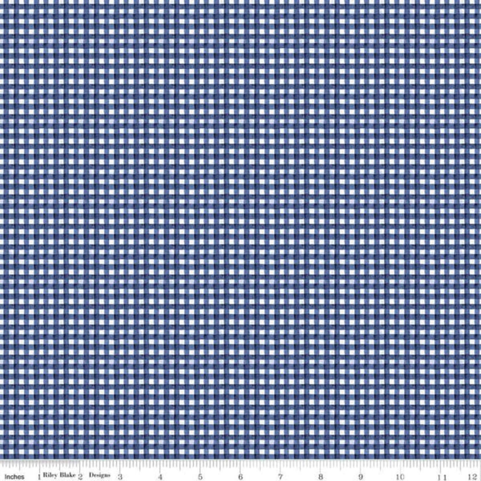 Riley Blake Designs Hungry Animal Alphabet, Gingham, Blue per cm or $20/m
