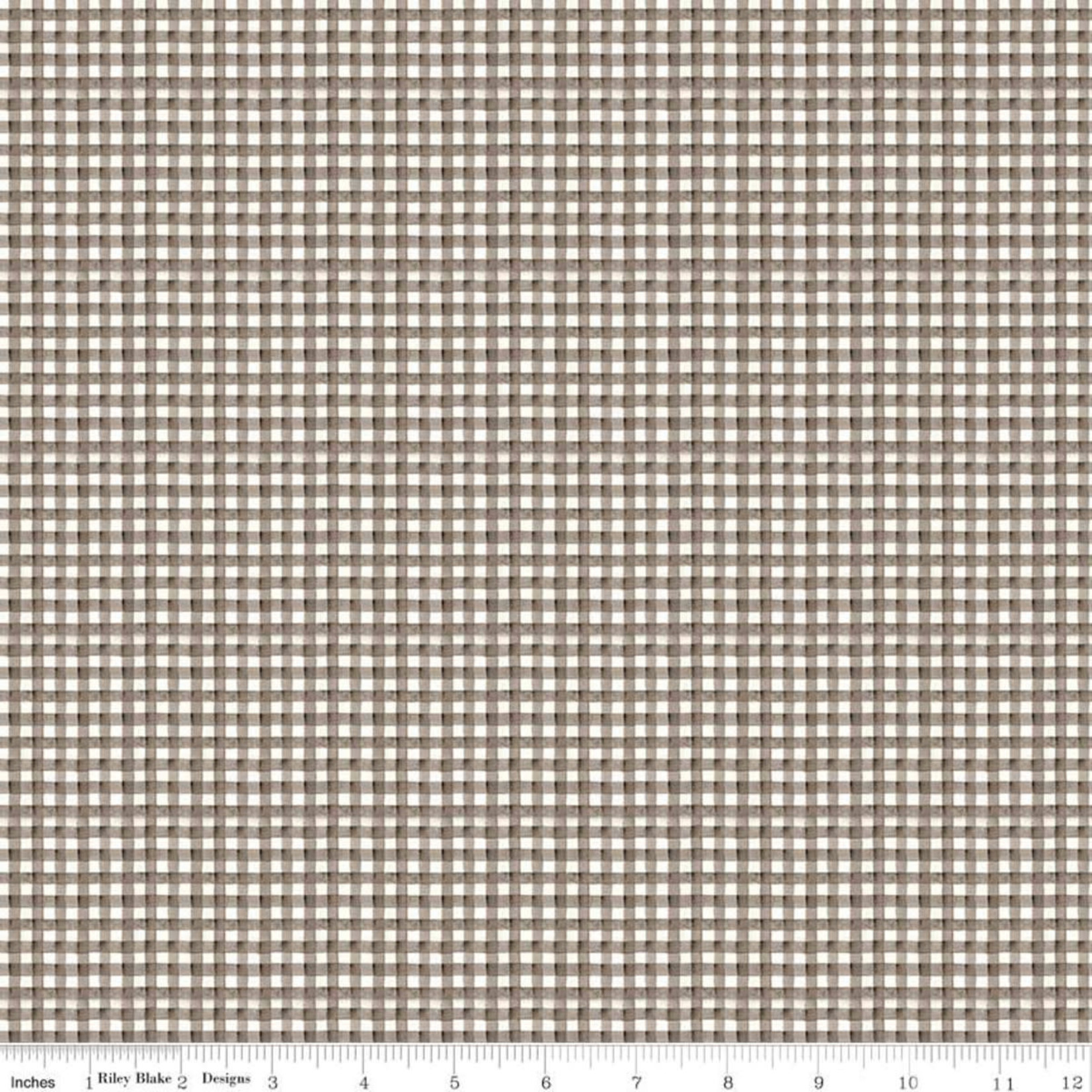 RILEY BLAKE DESIGNS Hungry Animal Alphabet, Gingham, Charcoal per cm or $20/m