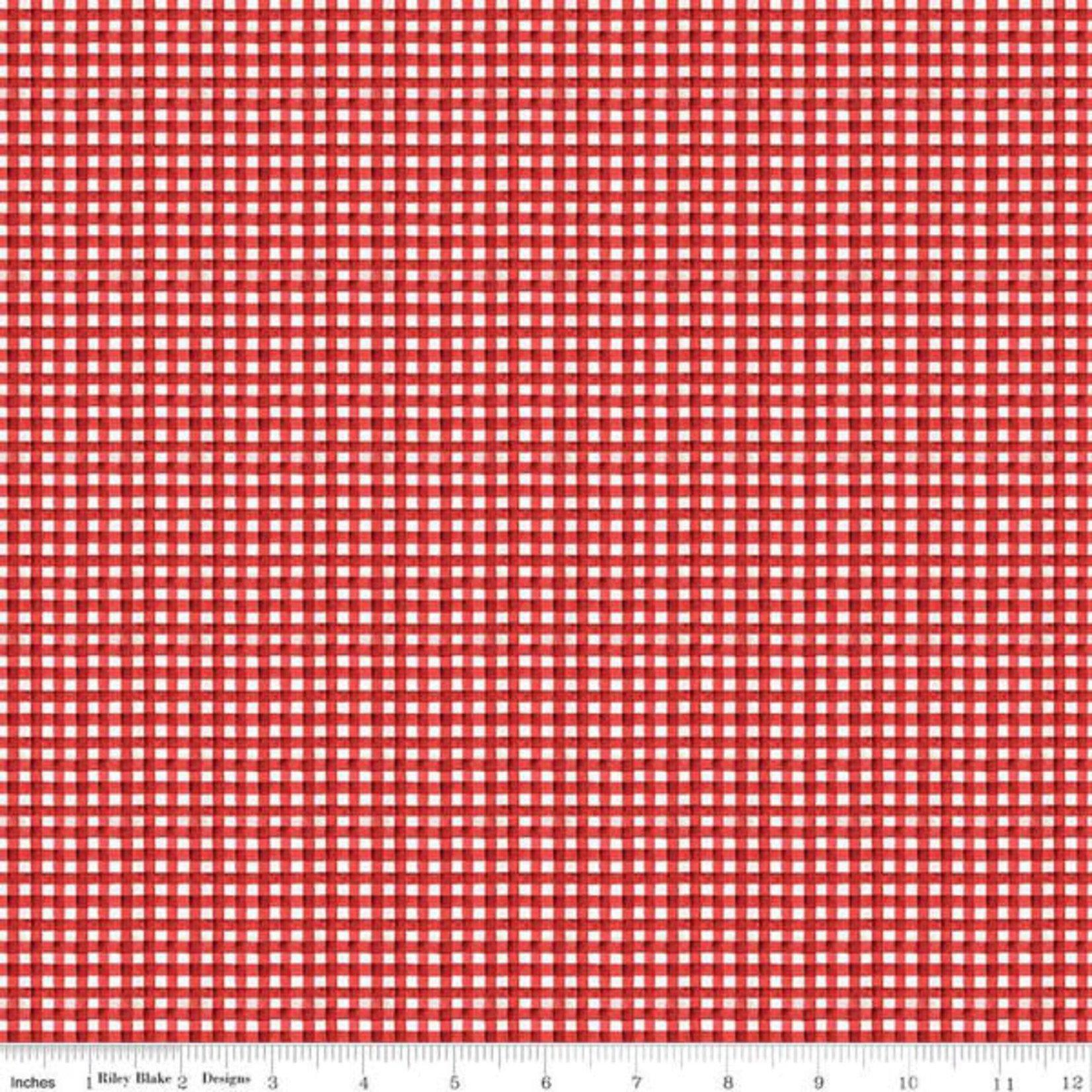 RILEY BLAKE DESIGNS Hungry Animal Alphabet, Gingham, Red per cm or $20/m