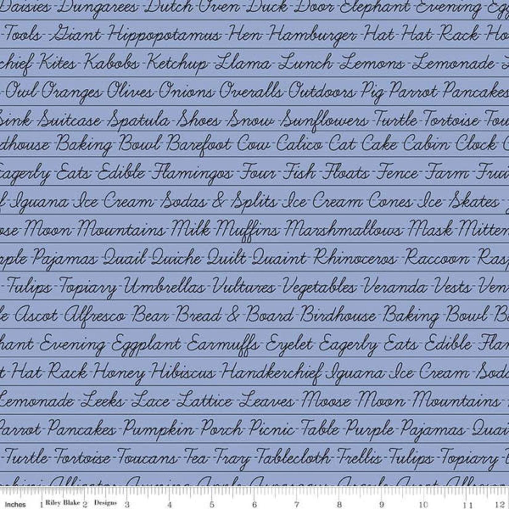 Riley Blake Designs Hungry Animal Alphabet, Penmanship, Periwinkle per cm or $20/m