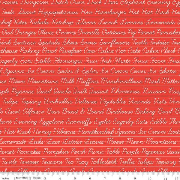 RILEY BLAKE DESIGNS Hungry Animal Alphabet, Penmanship, Red per cm or $20/m