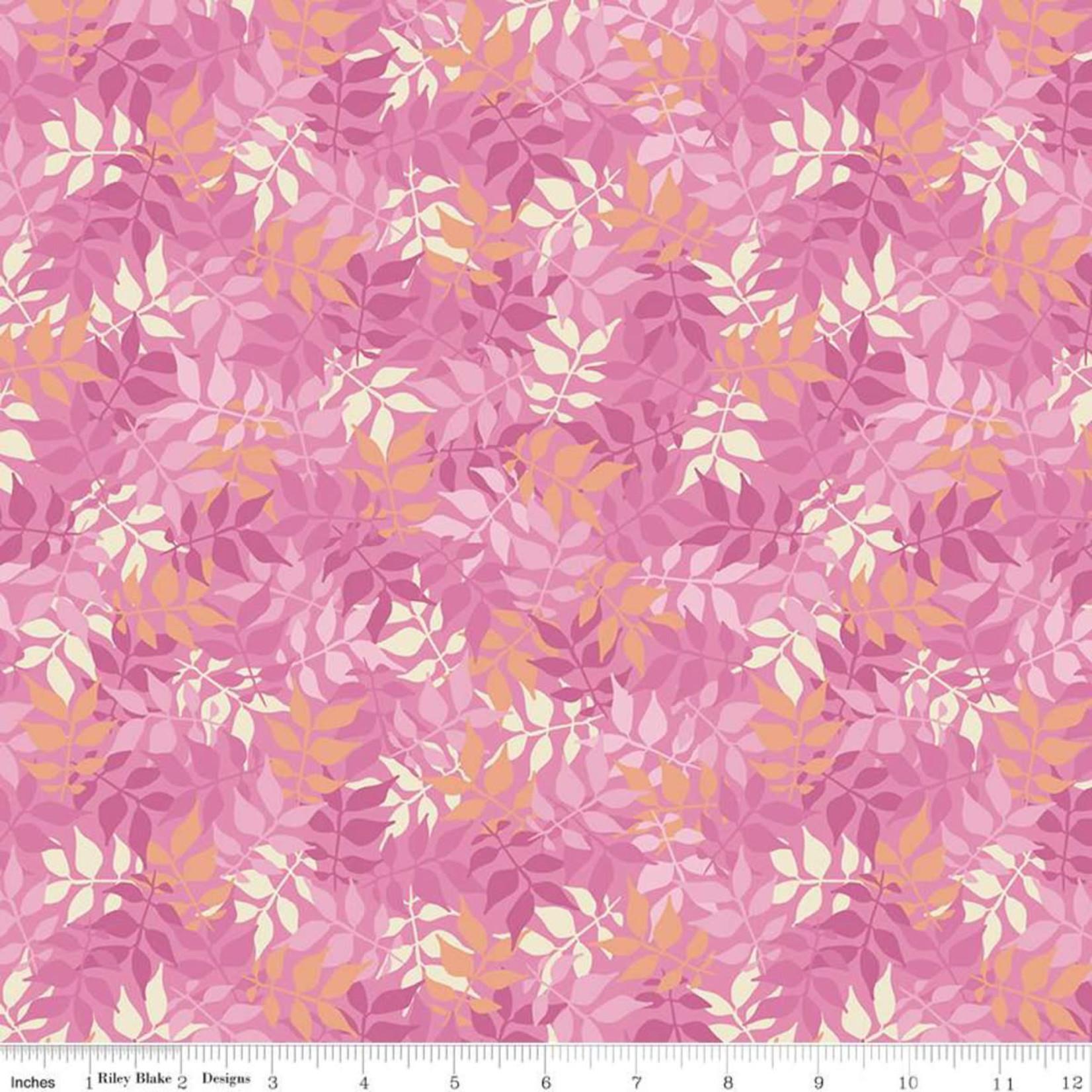 Riley Blake Designs MEADOW LANE, LEAVES, PINK C10122 PER CM OR $20/M