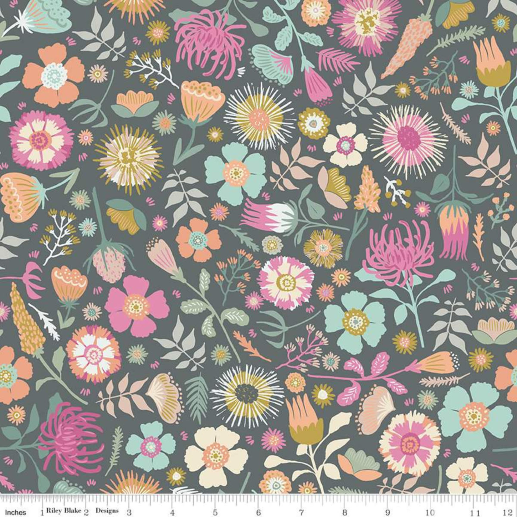 Riley Blake Designs MEADOW LANE, MAIN, GRAY C10120 PER CM OR $20/M
