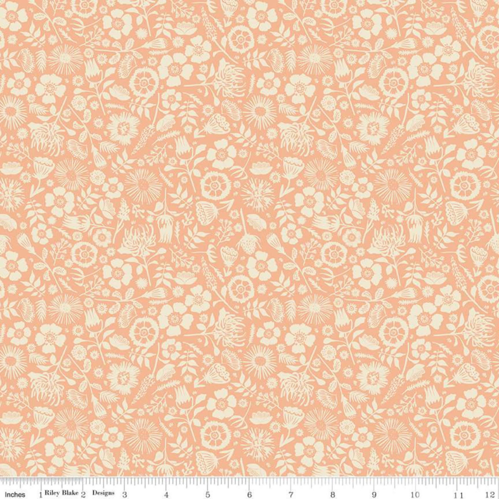 RILEY BLAKE DESIGNS MEADOW LANE, FLORAL IMPRINT, MELON C10125 PER CM OR $20/M