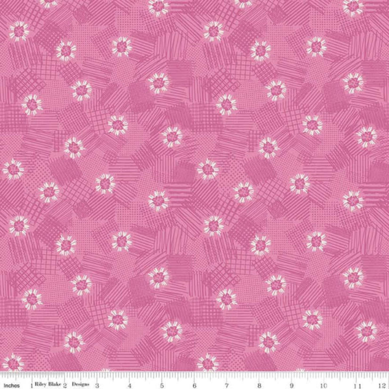 RILEY BLAKE DESIGNS MEADOW LANE, SCRIBBLED FLORAL, PINK C10123 PER CM OR $20/M