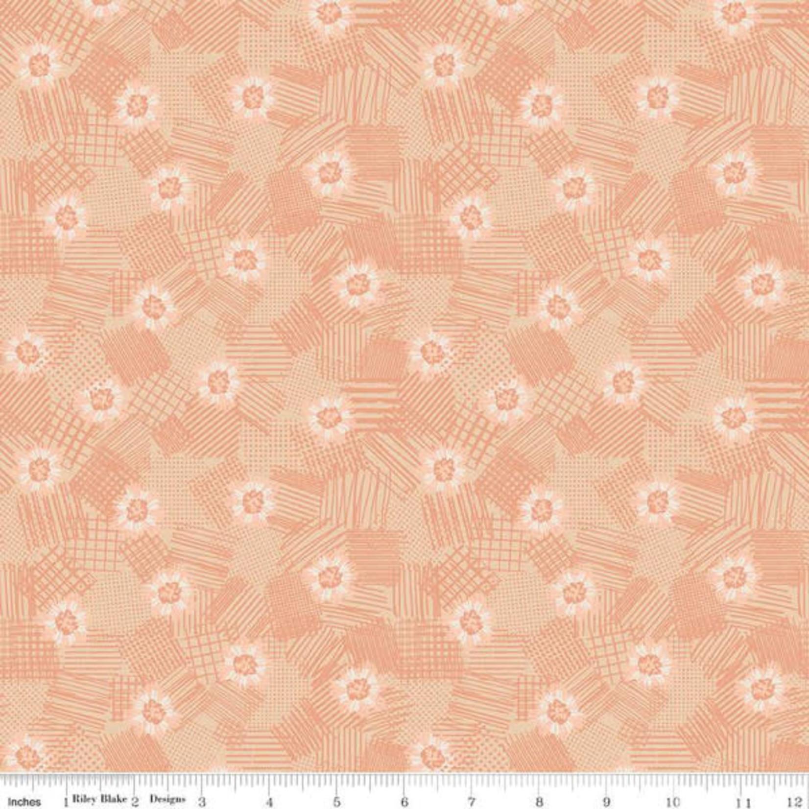 Riley Blake Designs MEADOW LANE, SCRIBBLED FLORAL, MELON C10123 PER CM OR $20/M