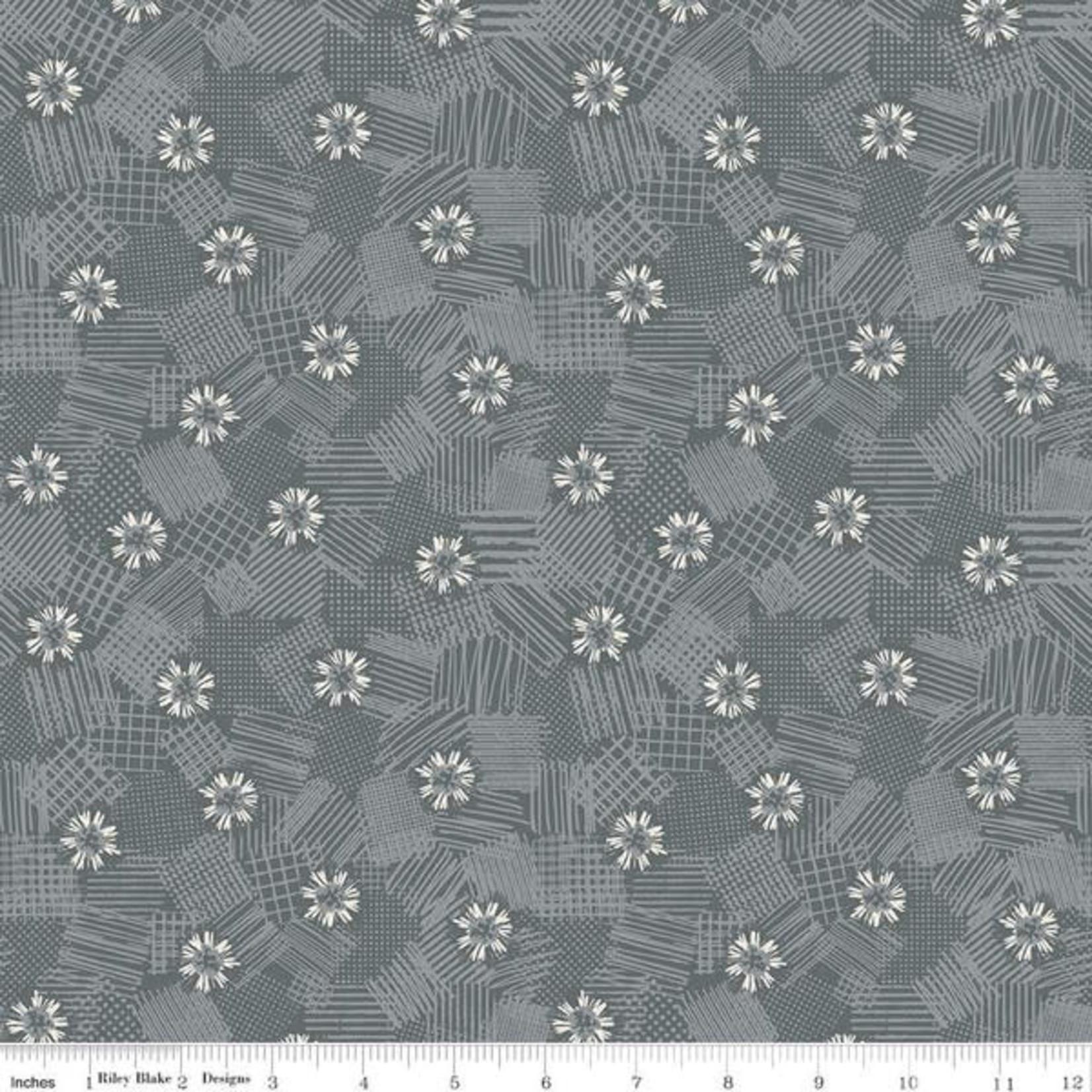 Riley Blake Designs MEADOW LANE, SCRIBBLED FLORAL, GRAY C10123 PER CM OR $20/M