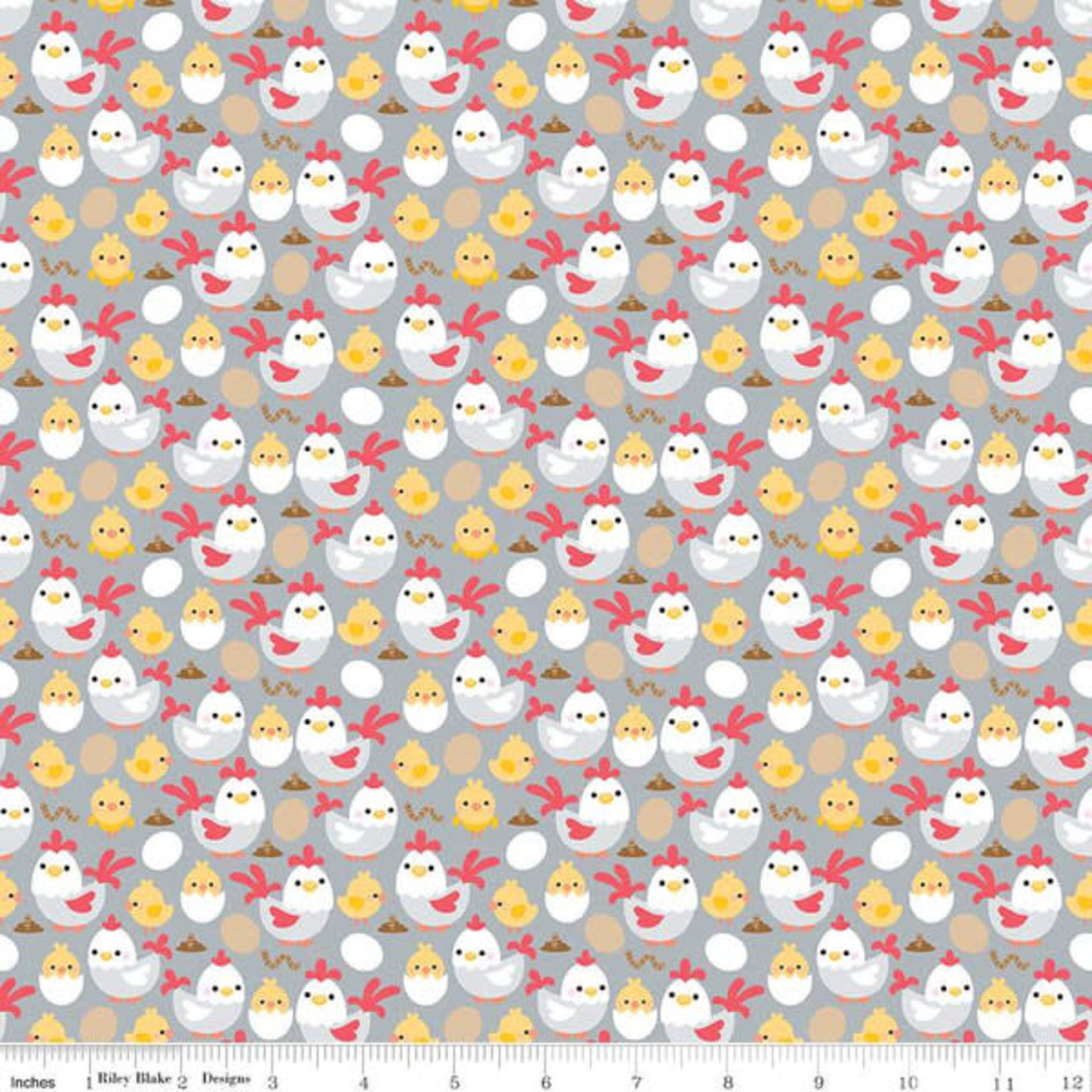 RILEY BLAKE DESIGNS DOWN ON THE FARM, CHICKENS, GRAY PER CM OR $20/M