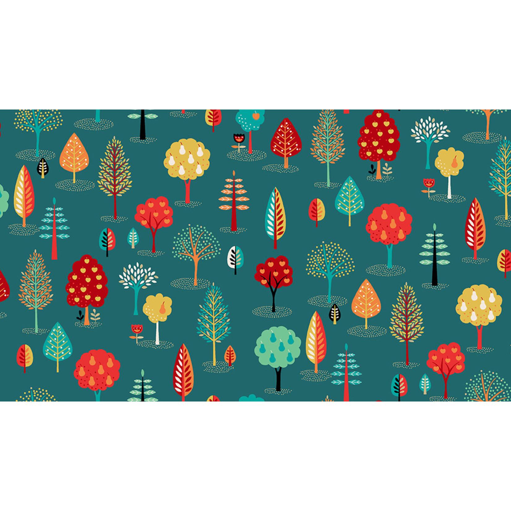 Makower Folk Friends, Trees, Turquoise (2305-T) per cm or $20/m