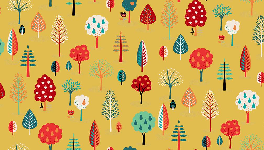 MAKOWER Folk Friends, Trees, Yellow (2305-Y) per cm or $20/m
