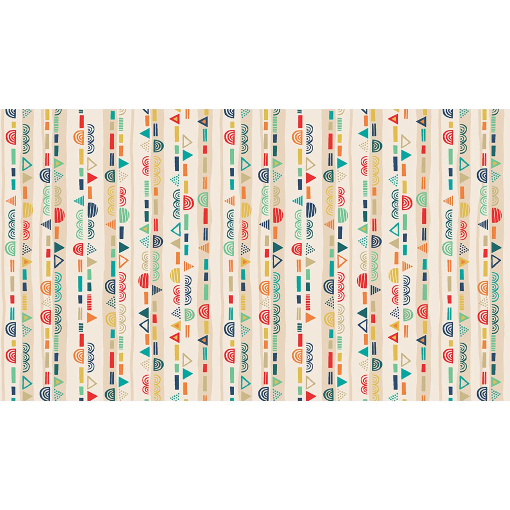 MAKOWER Folk Friends, Stripe, Yellow (2306-Q) per cm or $20/m